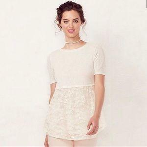 Lauren Conrad White Lace Top NWT Size S